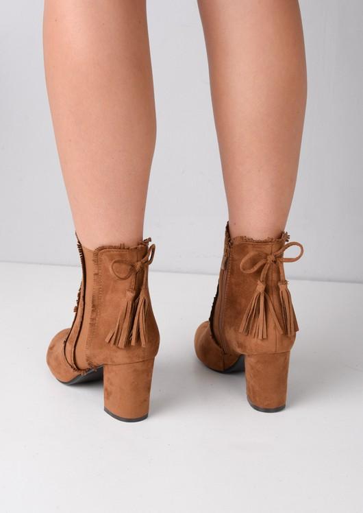 Block Heel Tassel Faux Suede Ankle Boots Camel Brown