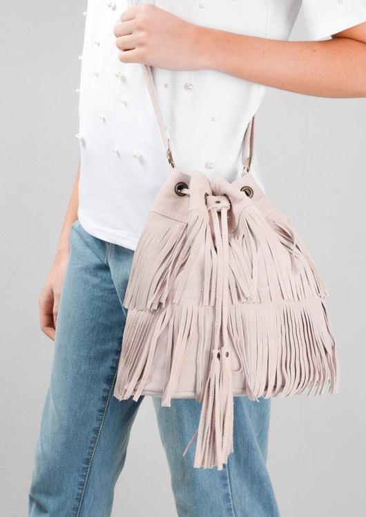 Boho Tassel Fringe Suede Drawstring Bucket Bag Pink