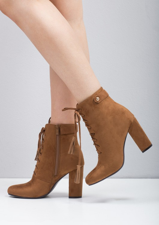 Tassel Lace Up Ankle Boots Camel