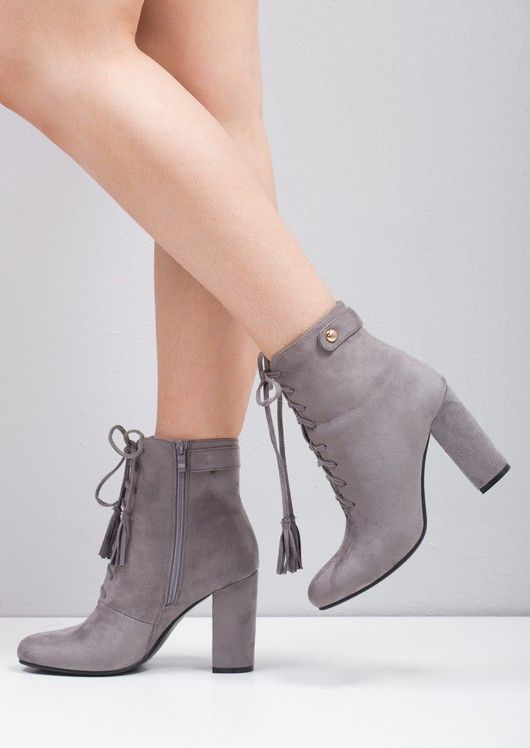 Tassel Lace Up Ankle Boot Grey