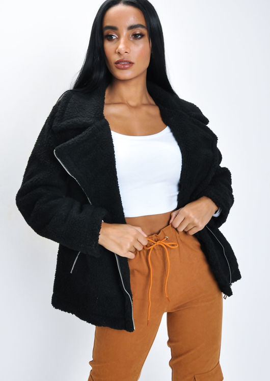 50% price another chance great quality Teddy Borg Biker Jacket Black | Lily Lulu