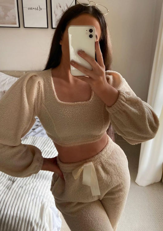 Teddy Borg Cropped Sweater Pants Loungewear Co-Ord Set Beige