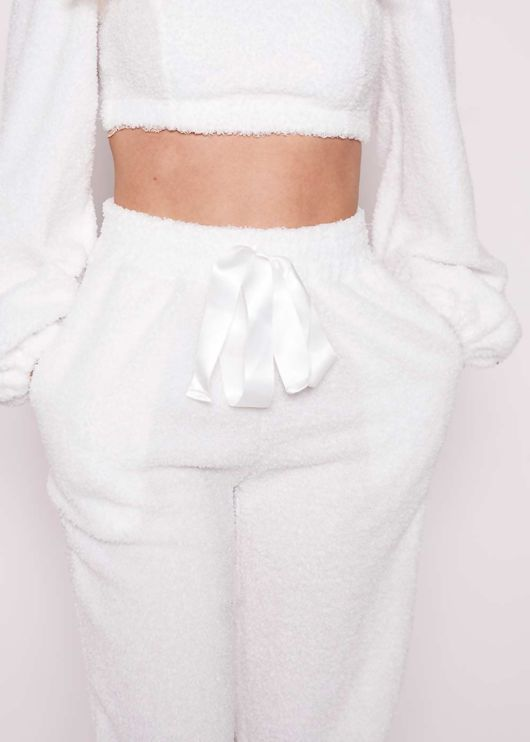 Teddy Borg Cropped Sweater Pants Loungewear Co-Ord Set White