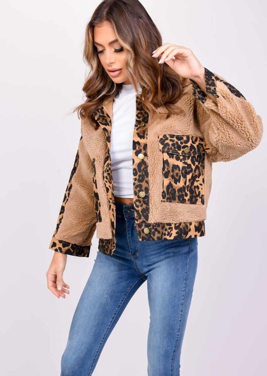 Teddy Borg Leopard Print Pocket Coat Brown