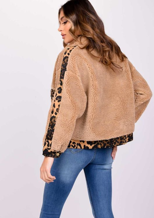 Teddy Borg Leopard Print Pocket Coat Brown