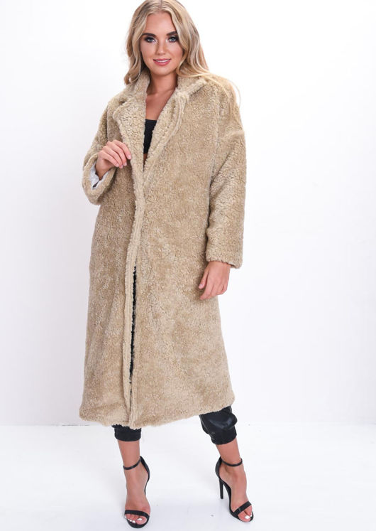 Teddy Borg Longline Coat Beige