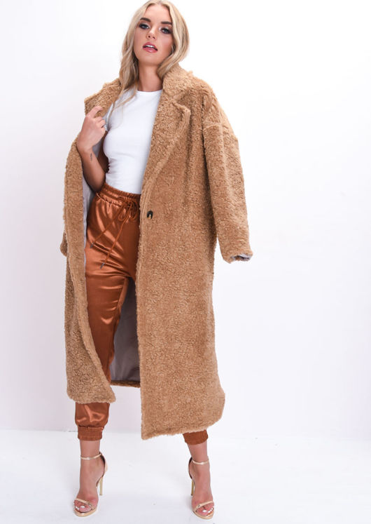 Teddy Borg Longline Coat Camel Brown
