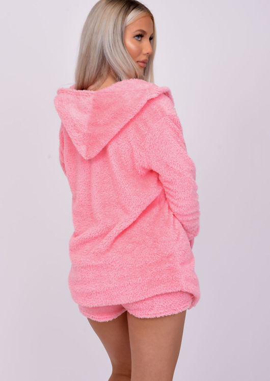 Teddy Borg Short Loungewear Co ord Set Hot Pink