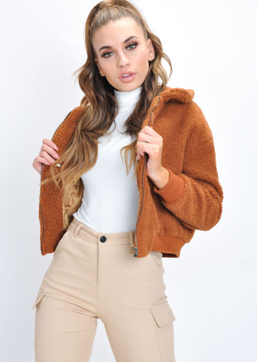 Teddy Faux Fur Borg Bomber Jacket Tan Brown