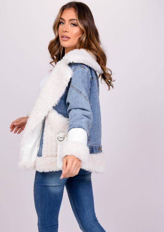 Teddy Borg Faux Leather Cuff Fleece Denim Biker Jacket Coat White