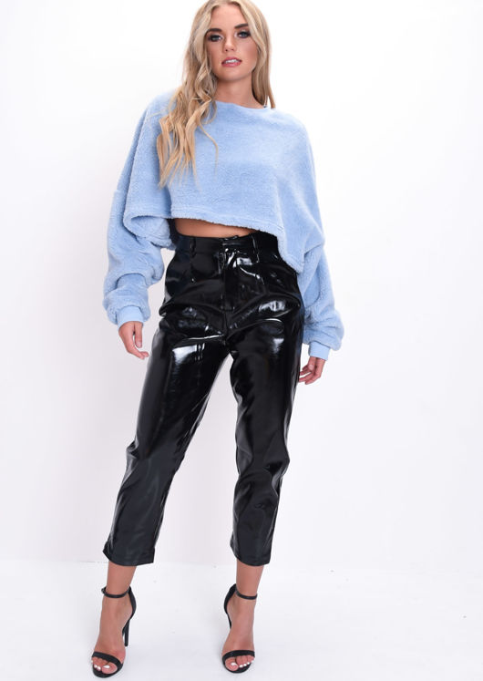 Teddy Oversized Fluffy Batwing Crop Jumper Blue