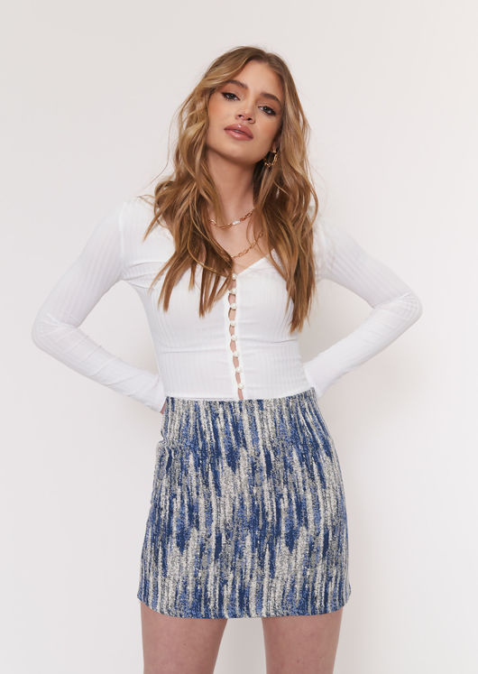 Torn Texture Patterned A Line Mini Skirt Blue