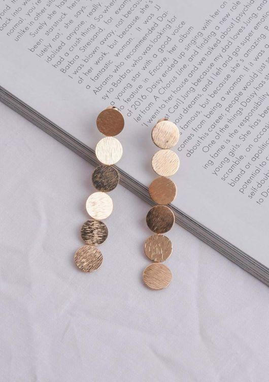 Textured Circle Drop Earrings Gold