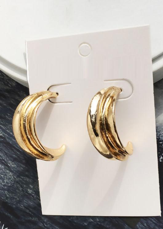 Textured Half Moon Drop Earrings Gold