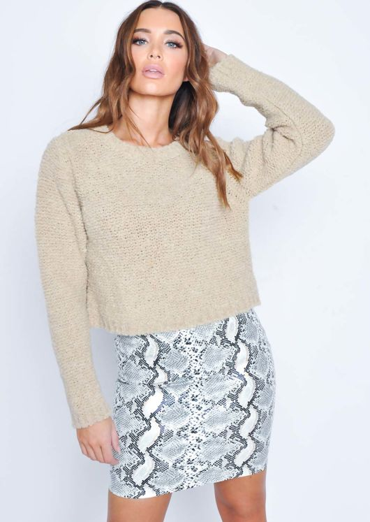 Textured Wool Cropped Jumper Beige