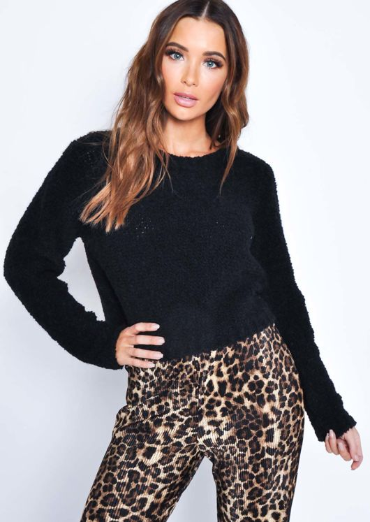 Textured Wool Cropped Jumper Black