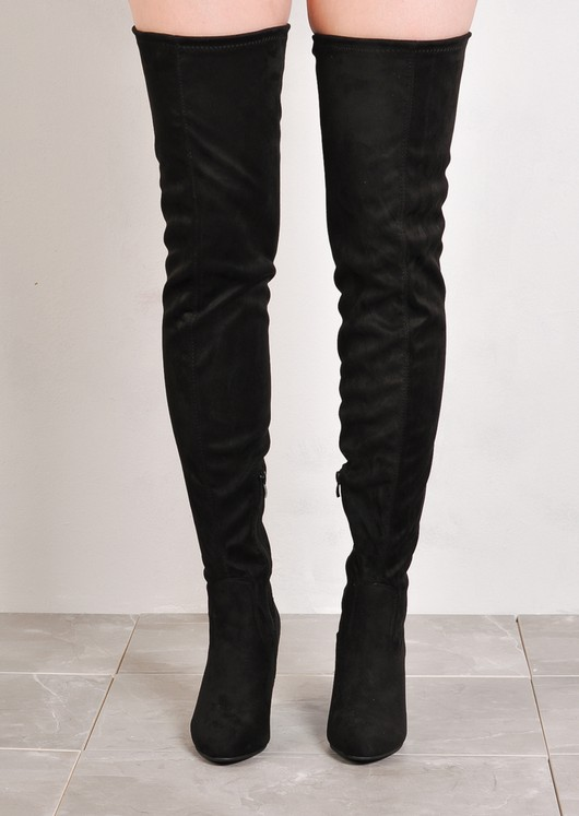 Thigh High Extra Long Block Heel Faux Suede Tie Back Boots Black