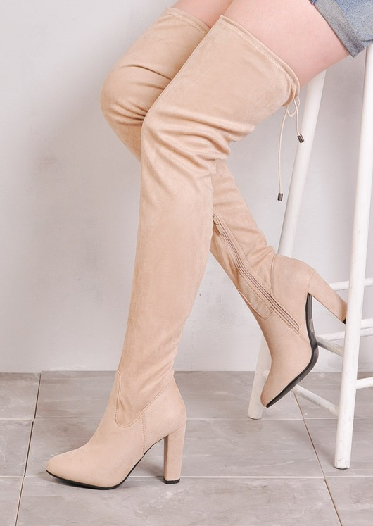 Thigh High Extra Long Block Heel Faux Suede Tie Back Boots Nude