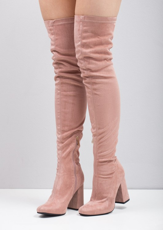 Thigh High Suede Chunky Block Heeled Long Boots Pink