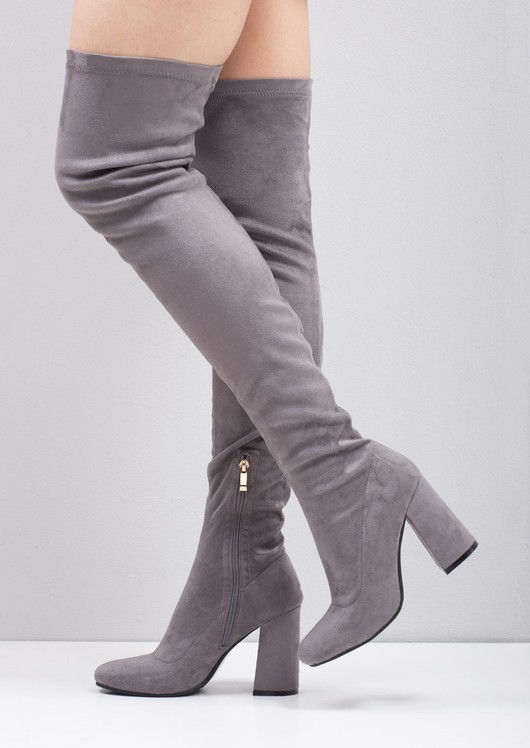Thigh High Suede Chunky Block Heeled Long Boots Grey