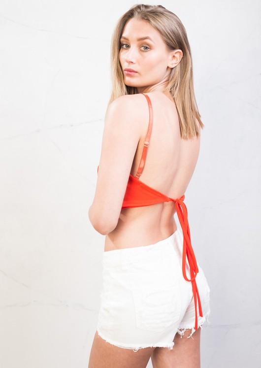 Tie Back Cami Crop Top Orange