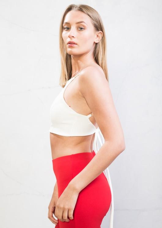 Tie Back Cami Crop Top White