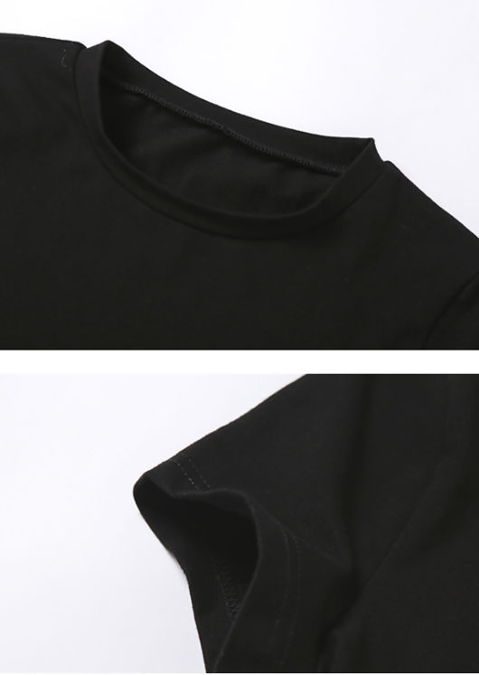 Tie Back Detail Cropped T Shirt Top Black