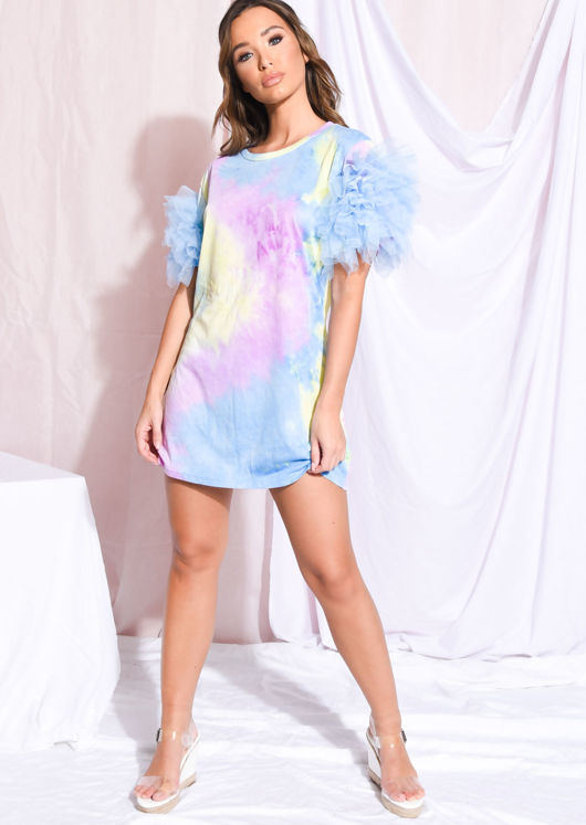 world-wide selection of huge discount quality products Tie Dye Frill Tulle Mini T Shirt Dress Blue