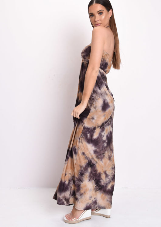 Tie Dye Halterneck Maxi Dress Brown