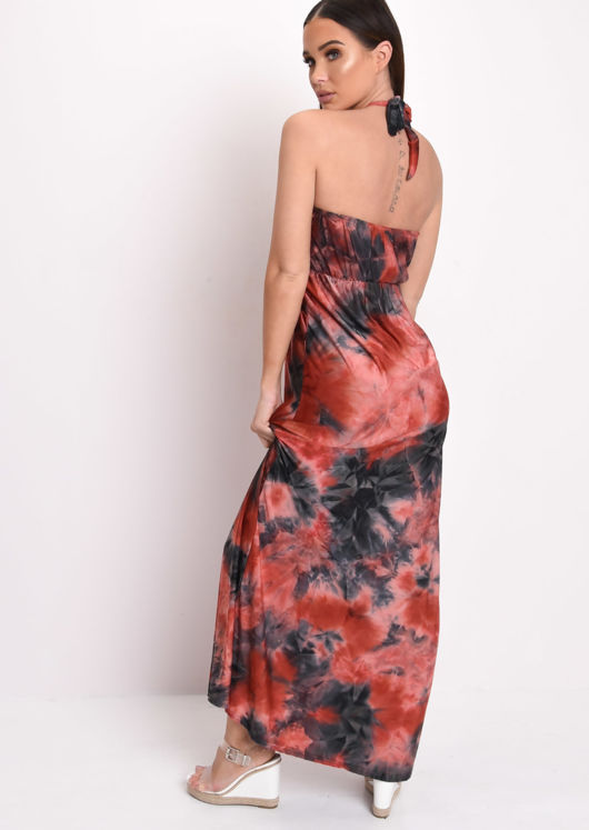 Tie Dye Halterneck Maxi Dress Red