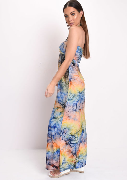 Tie Dye Halterneck Maxi Dress Yellow