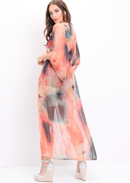 Tie Dye Longline Maxi Kimono Multi