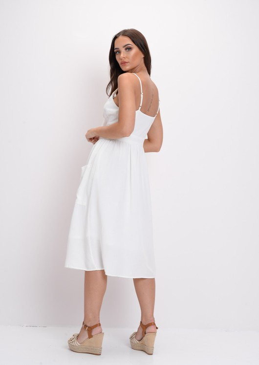 Tie Front Button Through Causal Midi Dress White