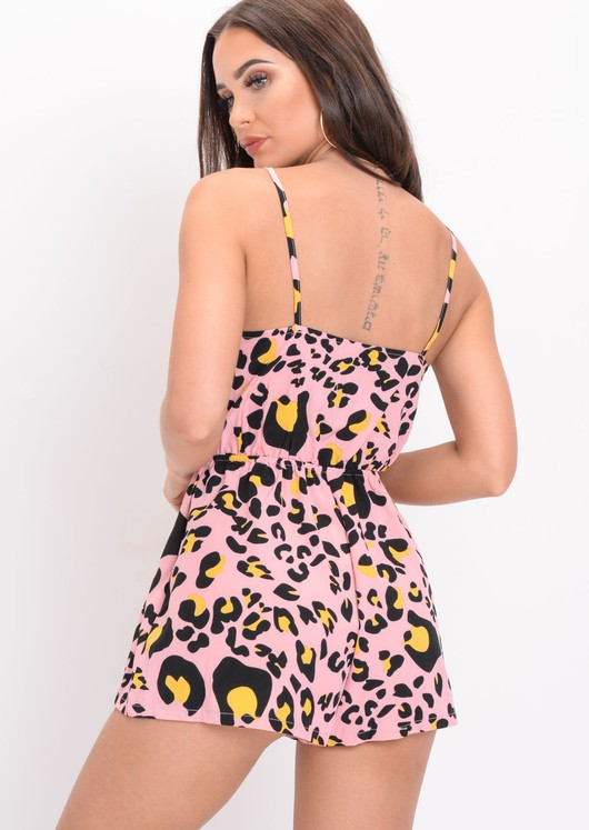 Tie Front Leopard Print Strappy Playsuit Pink