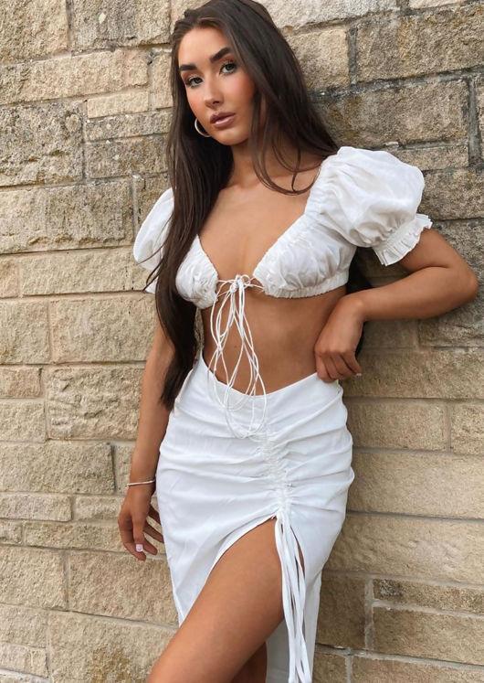 Tie Front Puff Sleeve Crop Top White