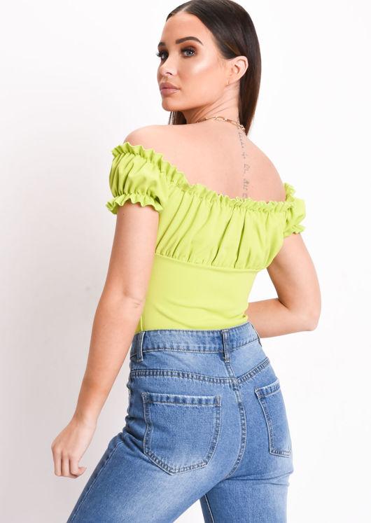 Tie Front Ruffle Bardot Crop Top Neon Green