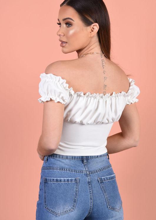 Tie Front Ruffle Bardot Crop Top White
