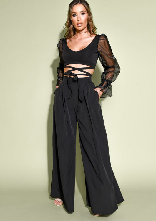 Tie Front Sheer Puff Sleeve Crop Top Black