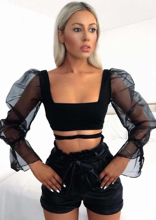 Organza Tie Front Sheer Puff Sleeve Crop Top Black