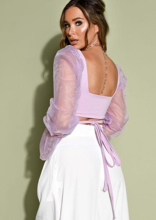 Tie Front Sheer Puff Sleeve Crop Top Purple