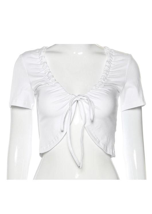 Tie Open Front Crop Top White