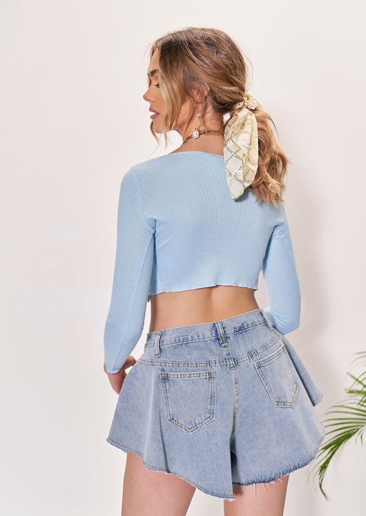 High Waisted Raw Hem Flared Denim Shorts Blue