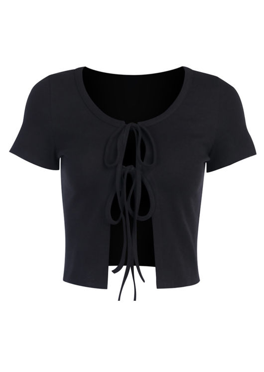 Tie Up Ribbed Cropped Short Sleeve Cardigan Top Black