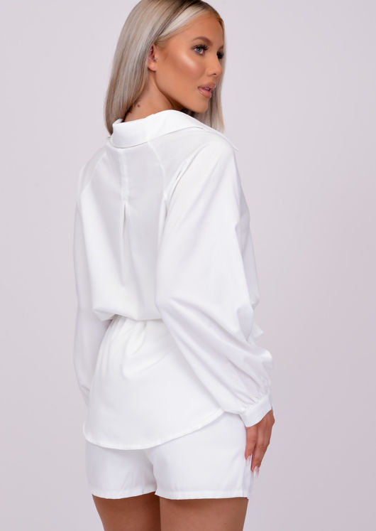 Tie Waist Oversize Button Down Shirt with Shorts Co Ord Set White