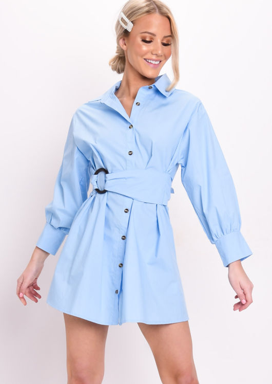 Tie Waist Button Through Shirt Dress Blue