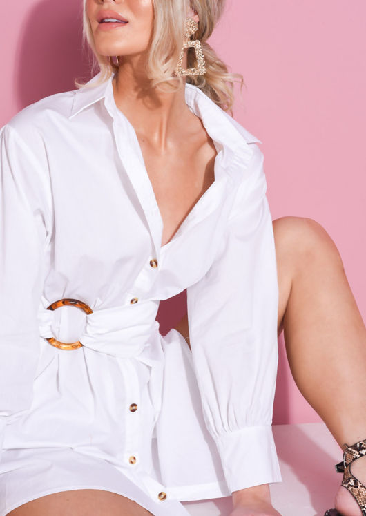 Tie Waist Button Through Shirt Dress White