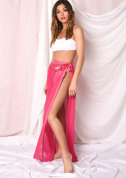 Tie Waist Cover Up Maxi Skirt Fuchsia Pink