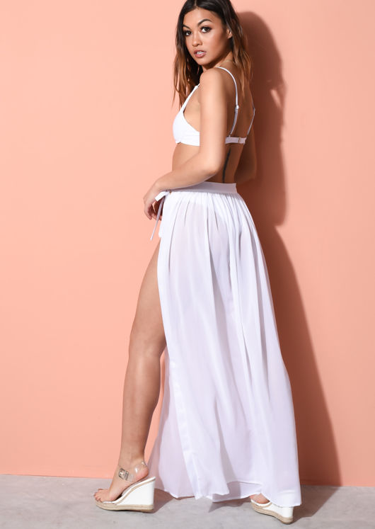 Tie Waist Cover Up Maxi Skirt White