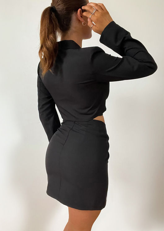 Tie Waist Cropped Blazer And Side Split Mini Skirt Co-Ord Set Black