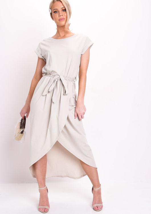 Tie Waist Dipped Hem Stretch Midi Dress Beige